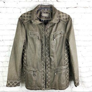 NEW Gray Quilt Studded Leather Jacket